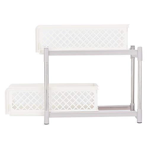 Estante de Almacenamiento para baño, Organizador de Especias, fácil de Instalar con cajones extraíbles Soporte de Carga Resistente sin Perforaciones 2 Capas para despensa de lavandería