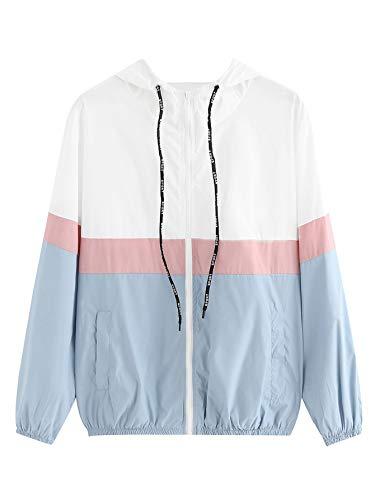 SweatyRocks Women's Casual Sport Colorblock Drawstring Hooded Windbreaker Jacket Blue M