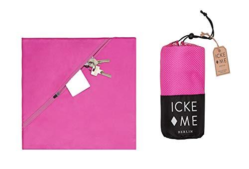 IckeMe 120x60cm Sporthandtuch pink Damen Microfaser Reißverschlusstasche Mikrofaserhandtuch - Fitnesshandtuch Homegym Yoga Rucksack Geschenk Freundin
