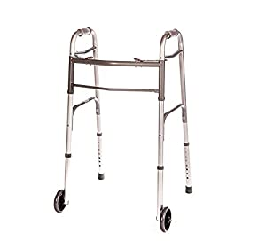 EASY TO USE This folding front wheel walker is designed with a comfy 2-push-button mechanism and is easy to operate COMFY HAND GRIPS The deluxe front wheel walker comes with specially created hand grips that make the user feel more comfortable when m...