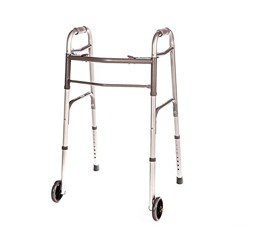 "Walker Folding Deluxe 2 Button with Front 5"" Wheels, Adjustable Height (Short, Standard, Tall People) by Healthline Trading"