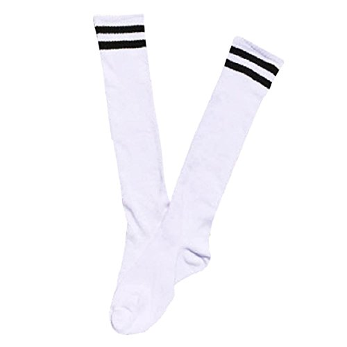 AMISON Kinder Sport Fußball Fußball Socken lang über Knie Hohe Socke Baseball Hockey, weiß