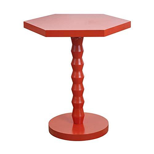 DGHJK Mesa de Centro para Muebles, sofá Redondo Mesa Auxiliar Mesa de Esquina de Madera Maciza Mesa de Centro Mesita de Noche para Sala de Estar Dormitorio 42 * 51 CM (Color: Rojo) (Color: Rojo)