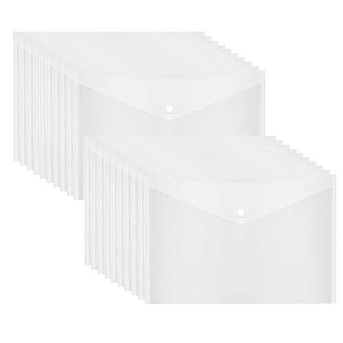 Poly Envelope, Clear Plastic Envelope Folder with Button Closure, 20PCS Document Envelopes,US Letter / A4 Size - Gtlzlz