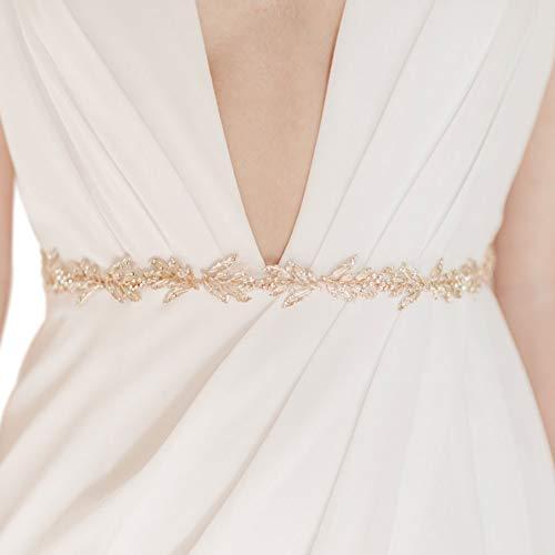 SWEETV Cinturón de novia dorado con diamantes de imitación hecho a mano para vestido de boda, con hoja de cristal, banda de organza