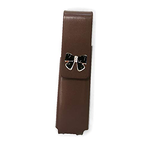 IQOS 3 MULTI 専用 アイコス3 リボン 本革 マルチ ケース (ブラウン/エナメルリボン小黒pt24) iQOSケース シンプル 無地 保護 カバー 収納 カバー 全4色 電子たばこ 革