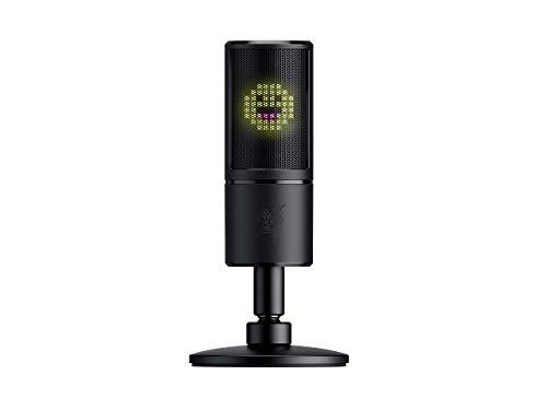 Razer Seiren Emote USB Kondensator-Mikrofon für Streaming mit Integriertem Schockdämpfer, Superniere Aufnahmemuster und Razer Chroma LED Matrix (Generalüberholt)