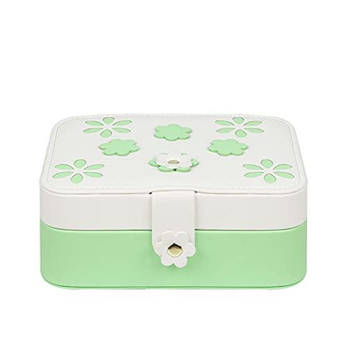 Joyero Caja de joyería pequeña, collar anillo de almacenamiento organizador caja de joyería, joyería de viaje de doble capa organizador para mujeres regalo de niñas contenedor organizador jewlwey