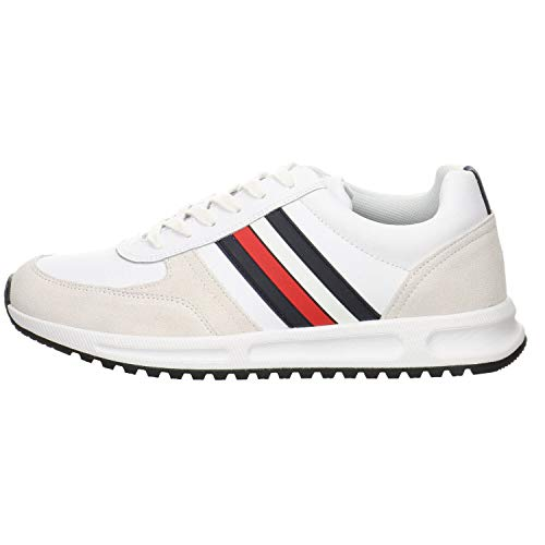 Tommy Hilfiger Herren MODERN Corporate Leather Runner Sneaker, Weiß (White Ybs), 42 EU
