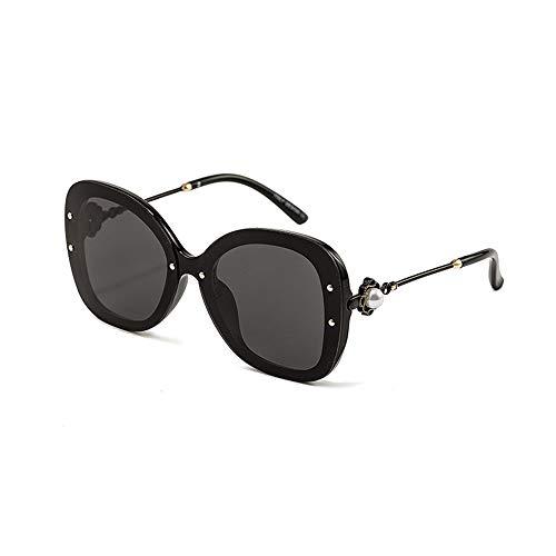 Duhongmei123 Occhiali da Sole per Uomo Occhiali da Sole con Montatura Leopardo con Borchie Fashion, Occhiali da Sole polarizzati da Viaggio per Donna Occhiali alla Moda (Color : Black Frame/Black)