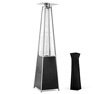 PAMAPIC Patio Heater, 42,000 BTU Pyramid Flame Outdoor Heater Quartz Glass Tube Gas Heater with Cover?Black?