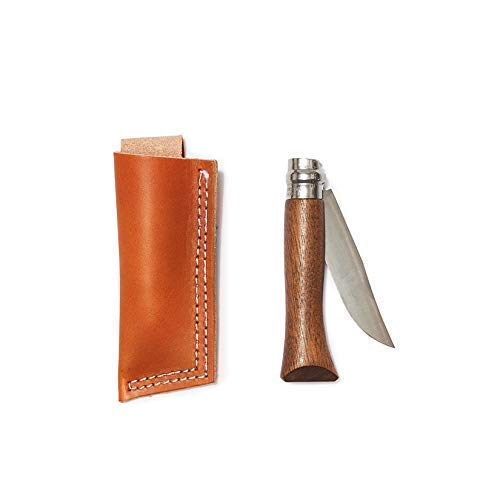 Whiskey Opinel® Knife with Walnut Handle and Tan Leather Belt Holster