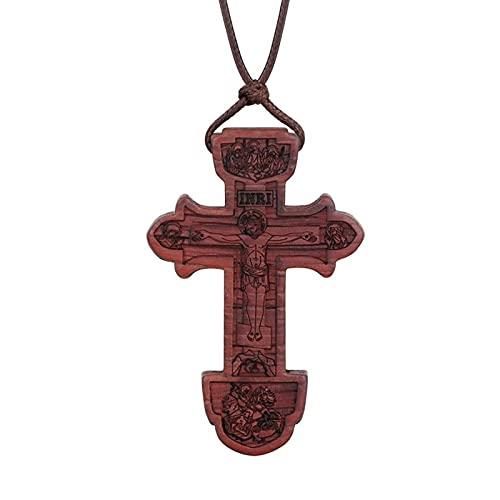 Collana Con Croce Ortodossa In Legno Di Ebano Religioso Inri St.Benedetto Crocifisso Gesù Collane Con Ciondolo Per Gioielli Da Preghiera Per Uomo
