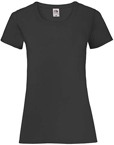Fruit Of The Loom SS079M, T-Shirt femme, Noir (Black), X-Small