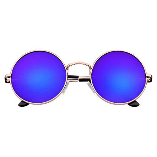 Emblem Eyewear - Premio Cerchio Specchio Specchio in Metallo Completo Di Occhiali Da Sole Rotondi (Oro Blu)