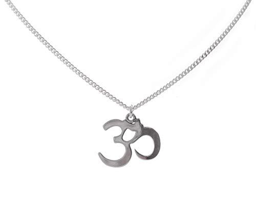 Om Yoga Anhänger Sterling Silber Halskette Kette 45 cm