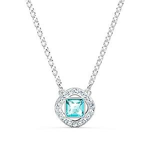 Swarovski Angelic Square Halskette, Weißes und Rhodiniertes Schmuckstück mit Funkelnden Türkisen und Weißen Swarovski Kristallen