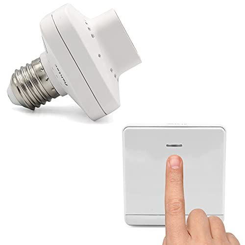 Kit de interruptor con control inalámbrico ni pilas con adaptador de casquillo E27 conectado, funciona con energía cinética, mando a distancia ON/OFF para lámpara LED, alcance 50 m, color blanco