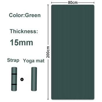 Esterilla de yoga para hombre, 200 x 80 x 1,5 cm, esterilla de gimnasia, gruesa, antideslizante, para deportes, esterilla de pilates, esterilla y yoga con vendas, verde