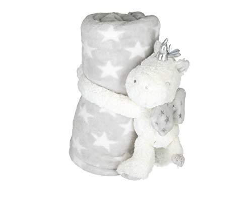 Bieco Kuscheldecke grau mit Sternen und Einhorn Kuscheltier