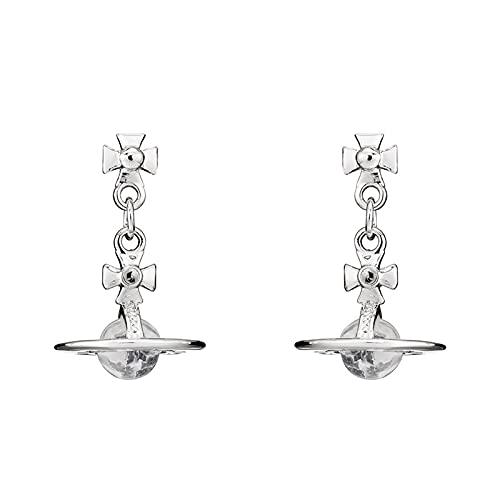 KINGVON KINGVON Pendientes de cristal transparente Saturno Pendientes de botón de gota Pendientes punk de diamantes de imitación para mujer Joyería Boho Pendientes vintage, Plata