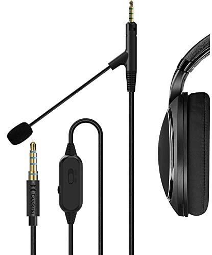 Geekria QuickFit Boom - Cable de auriculares para videojuegos y reuniones, compatible con Sennheiser HD598, HD598 SE, cable de repuesto de conector de 2,5 mm y control de volumen(negro 5,6 pies)