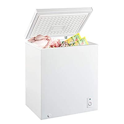 MYAL 5.0 Cubic Feet Chest Freezer with Removable Basket and Adjustable Thermostat, Top open Door Compact Freezer Store Meet Fish Vegetable for Home and Kitchen