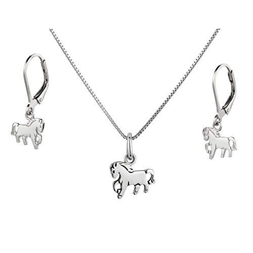 FIVE-D Anhänger mit Kette Kinderohrringe Pony Pferd 925 Silber im Schmucketui (Set - Ohrhänger)