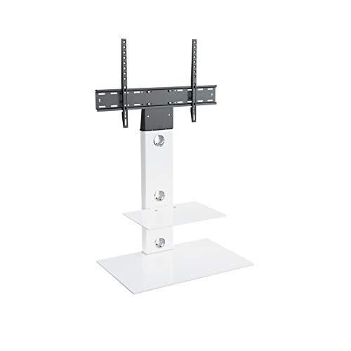 TV Furniture Direct TV-Ständer mit freitragender Halterung mit rechteckigem Glas für LCD und gebogene und flache LEDs, 32 '37' 39 '42' 45 '47' 49 '50' 55 '60' 65' und Fernseher 70cm Platz Regale Weiß