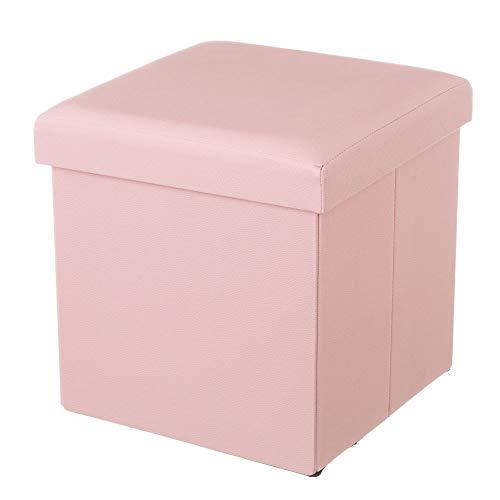 Dcasa - Puff baúl tendencia plegable de Polipiel rosa