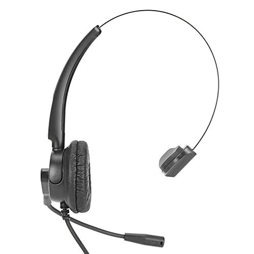 Auriculares telefónicos, VH520-RJ9 Auriculares ajustables de un solo oído, ultraligeros, diadema ajustable, con micrófono con cancelación de ruido, para charlas, negocios, centros de llamadas, confere