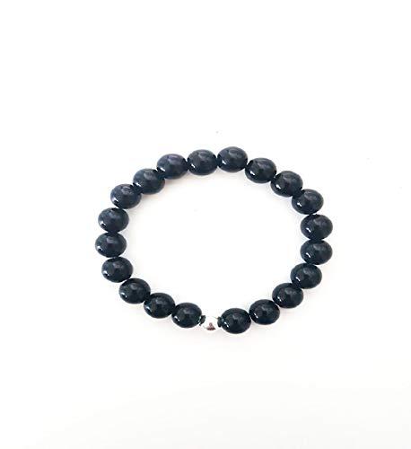 Pulsera de piedra ónix negra de 18 cm, perlas naturales y plata de 8 mm.