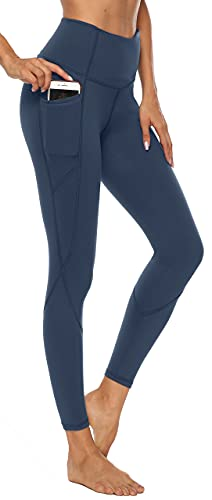 AFITNE Yoga Pants for Women High Waisted Tummy Control Athletic Leggings with Pockets Workout Clothes Gym Yoga Pants Blue - XL
