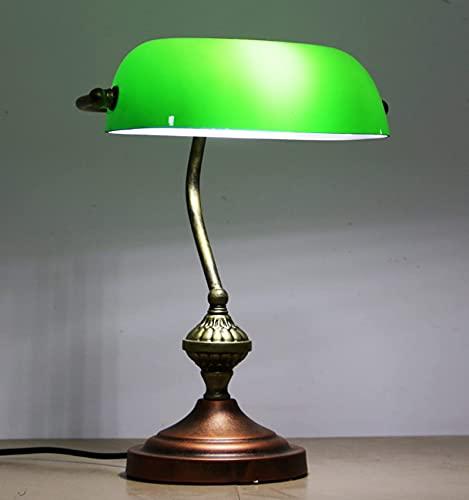 GXXDM Lámpara de Mesa Antigua clásica Art Deco, lámpara Retro, lámpara de Escritorio, lámpara de Lectura de cabecera con Pantalla de Cristal Verde, iluminación Interior para Sala de Esta
