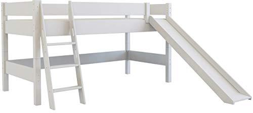 XXL Discount - Lettino per bambini con scivolo, 90 x 200 cm, letto a soppalco in legno massiccio di faggio laccato bianco con scivolo, con rete arrotolabile