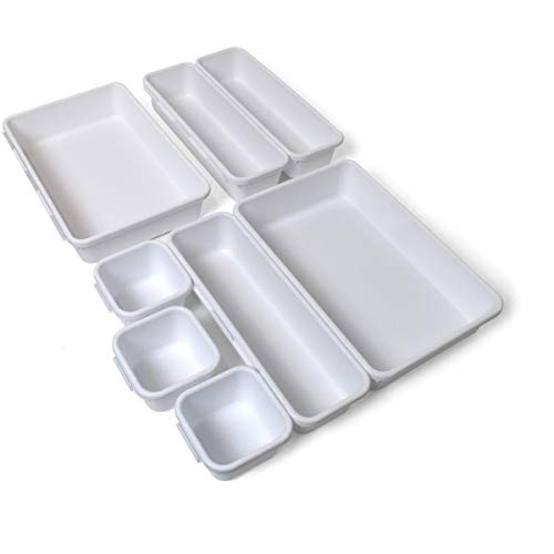 iGadgitz Home U7126 Plastik Schubladen Ordnungssystem, Schubladeneinsatz, Schubladen Organizer -Weiß