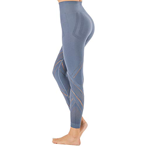 Beyove - Pantaloni da yoga da donna, a vita alta, con tasche Blu S