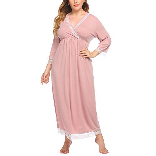 JIAGU Camisón Holgado Gran tamaño de Las señoras Larga Impresa Inicio Noche del Vestido de Europa y América Floja versión de la Noche Bata de baño (Color : Pink, Size : 4XL)