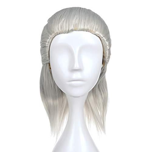 Peluca de Geralt Riva de The Witcher para disfraz cosplay   gris   40cm