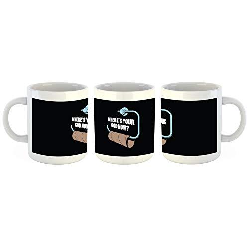 Unified Distribution Funny Wo ist Gott jetzt Klopapier - Tasse mit Motiv Bedruckt, 300ml C-Henkel. Tolles Geschenk für Büro, Küche, Geburtstag, Lieblingstasse zum Frühstück