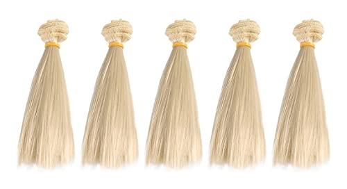 Lot de 5 perruques de 15 cm résistantes à la chaleur pour poupée, cheveux raides et longs, extensions de cheveux pour bricolage Bjd Pullip, poupée, perruques artisanales kaki (couleur : kaki foncé)