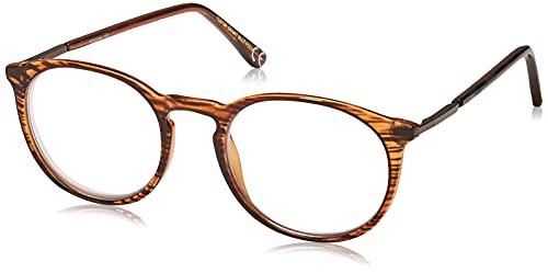Foster Grant McKay Multifocus Round Reading Glasses, Brown/Transparent, 48 mm + 2.5
