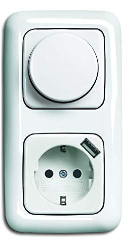 EBROM® complete set LED dimmer draaiknop + Busch Jäger ReflexSi alpine wit frame dimmerschijf USB stopcontact (2512-214 2115-214 20 EUCBUSB-214) inbouw faseafsnijding, LED 5-150 Watt en meer