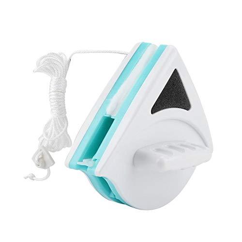 Limpiador de ventanas con imán de doble cara, cepillo de limpieza de ventanas, herramienta de limpieza de vidrio de ventana con imán con cuerda anticaída para ventana alta(5-12mm-Verde)
