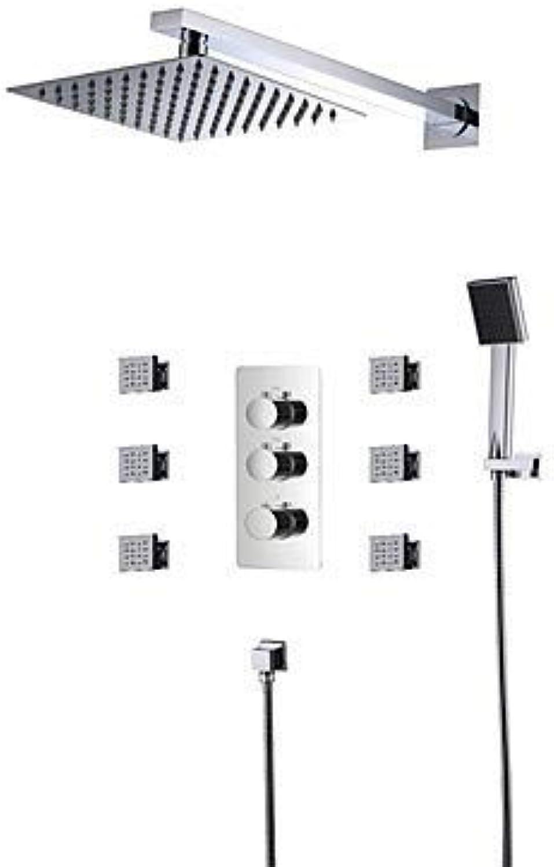 EGCLJ Bathroom Shower System - Rain Shower Handshower -Widespread Thermostatic LED Ceramic Valve Three Handles Five Holes Chrome,