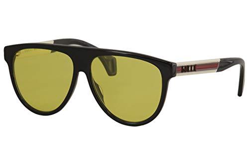 Gucci GG0462S-001-58 Occhiali, Schwarz glänzend/Weiß Vintage, 58.0 Unisex-Adulto