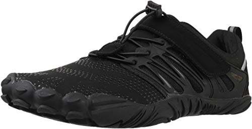 WHITIN Men's Trail Running Shoes Minimalist Barefoot 5 Five Fingers Wide Width Toe Box Gym Workout Fitness Low Zero Drop Male Parkour Road Sport Breathable Beach Black Size 14