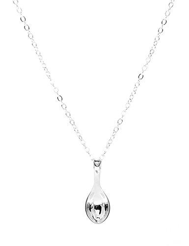Paialco Jewelry Collar con colgante de mini cuchara de plata de ley, cadena de 45,72 cm