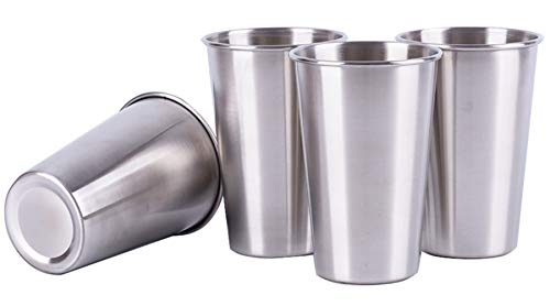 Mirenlife 16 Oz Stainless Steel Pint Cups Water Tumblers, Unbreakable, Stackable, Perfect for Camping Outdoors and Everyday Use Indoors, Set of 4