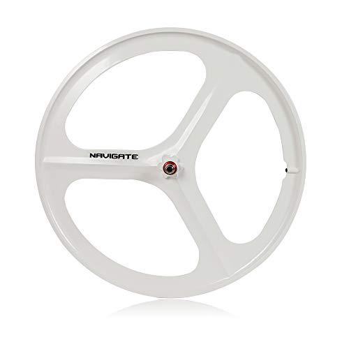 WINUS Bike Mag Wheel Set, 700C Fixed Gear(Front Rear) 17 Teeth Tri Spoke Rim Fixie Single Speed Bike Front & Rear Set White/Black (Front Wheel White)